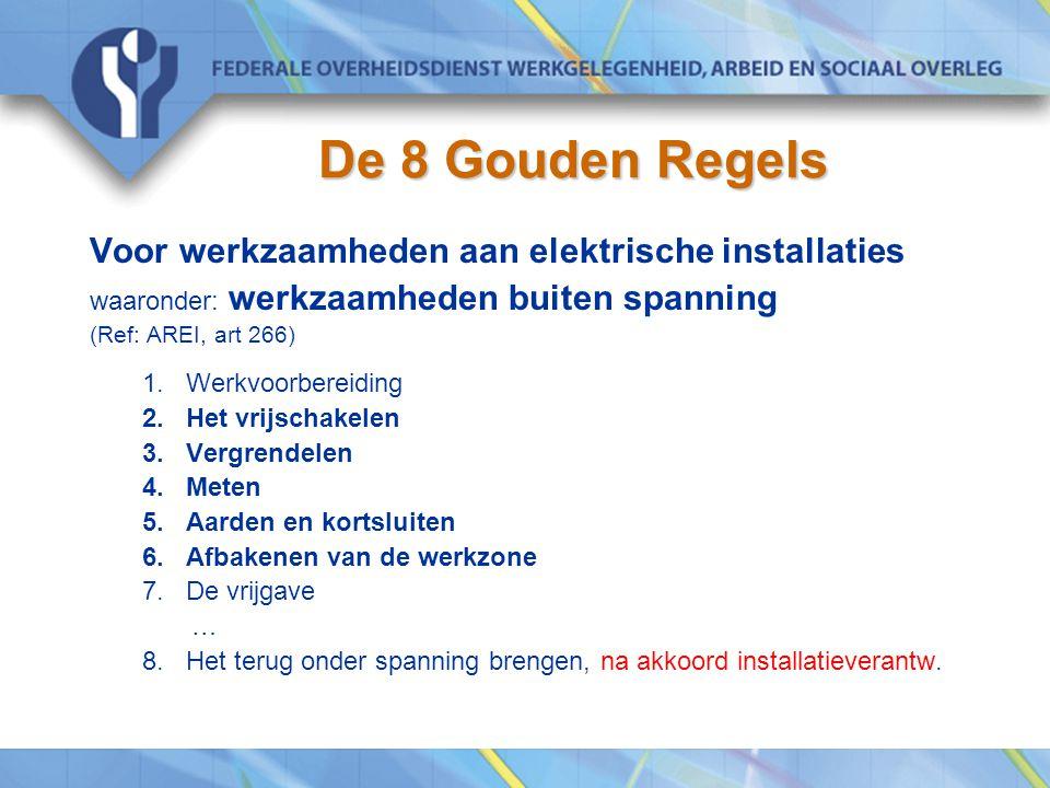 De 8 Gouden Regels Voor werkzaamheden aan elektrische installaties waaronder: werkzaamheden buiten spanning (Ref: AREI, art 266) 1.Werkvoorbereiding 2