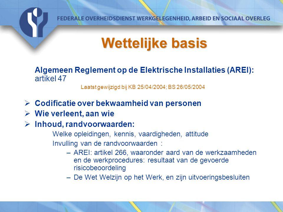 Wettelijke basis Algemeen Reglement op de Elektrische Installaties (AREI): artikel 47 Laatst gewijzigd bij KB 25/04/2004; BS 26/05/2004  Codificatie
