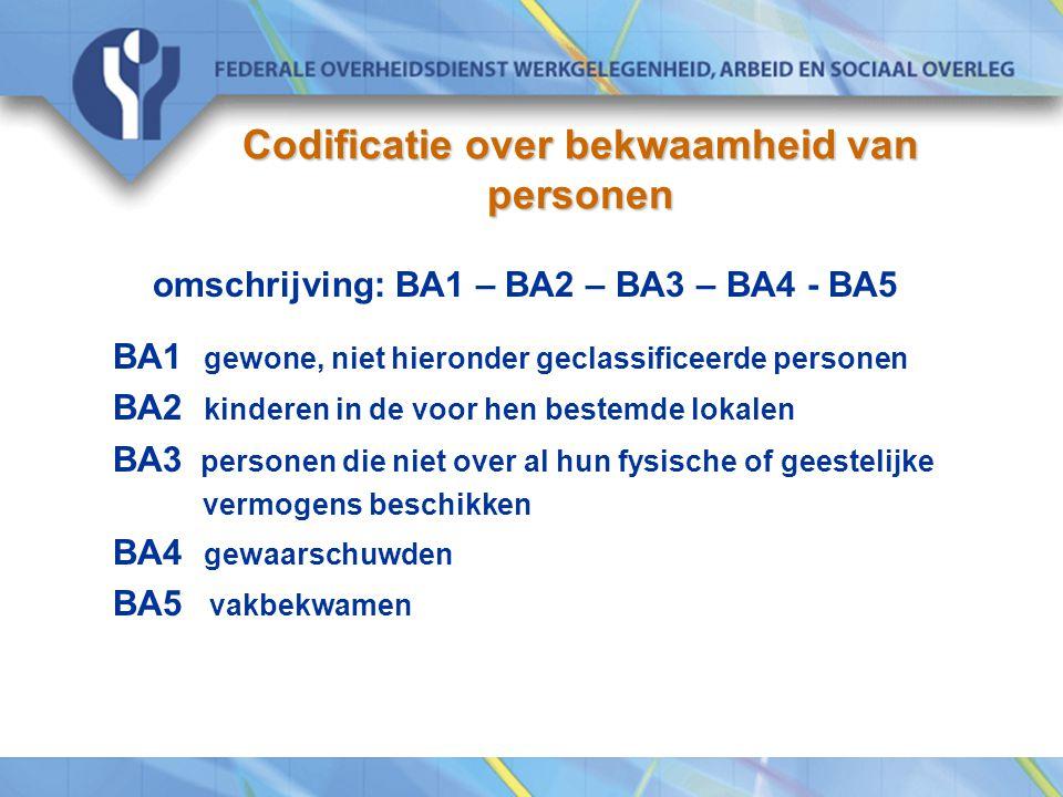 Codificatie over bekwaamheid van personen omschrijving: BA1 – BA2 – BA3 – BA4 - BA5 BA1 gewone, niet hieronder geclassificeerde personen BA2 kinderen