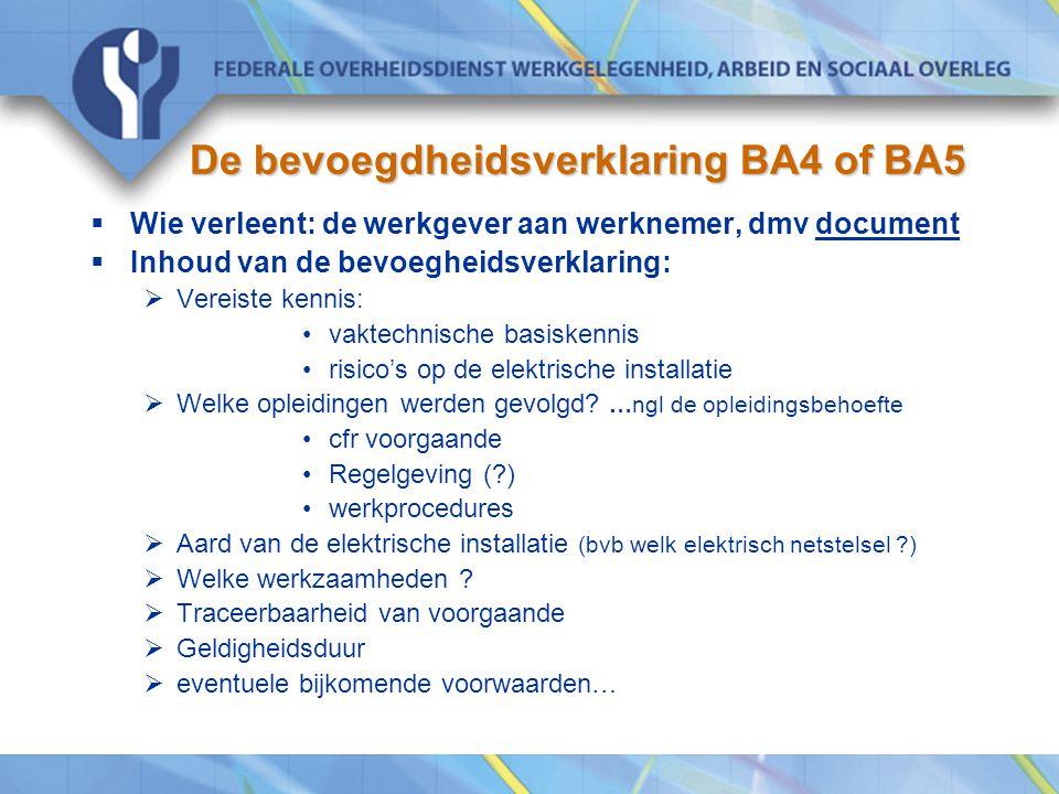De bevoegdheidsverklaring BA4 of BA5  Wie verleent: de werkgever aan werknemer, dmv document  Inhoud van de bevoegheidsverklaring:  Vereiste kennis