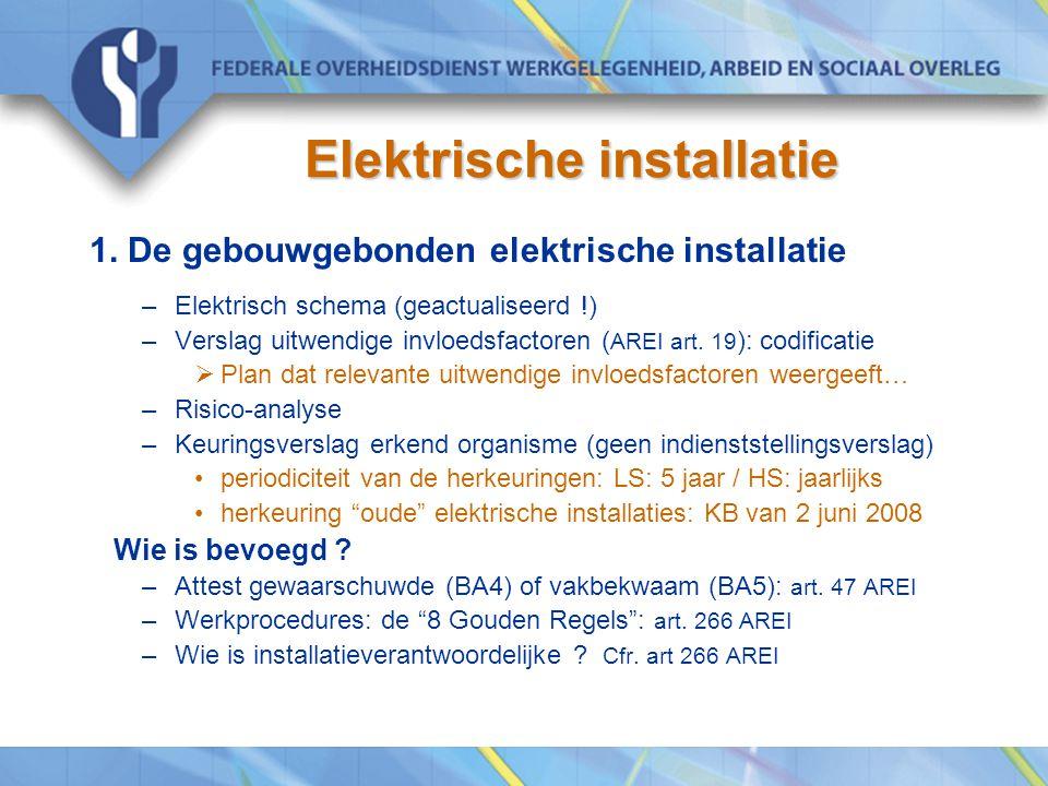 Elektrische installatie 1. De gebouwgebonden elektrische installatie –Elektrisch schema (geactualiseerd !) –Verslag uitwendige invloedsfactoren ( AREI