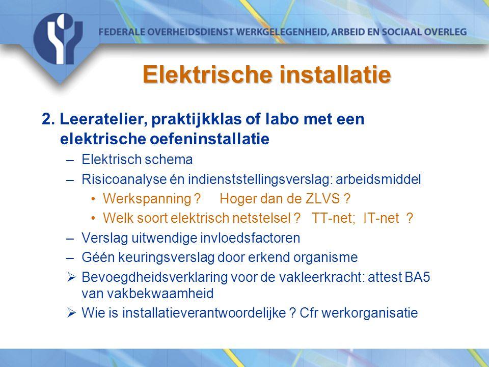 Elektrische installatie 2. Leeratelier, praktijkklas of labo met een elektrische oefeninstallatie –Elektrisch schema –Risicoanalyse én indienststellin