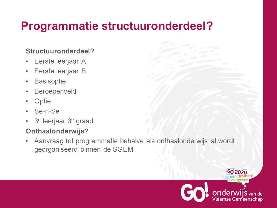 Programmatie structuuronderdeel. Structuuronderdeel.