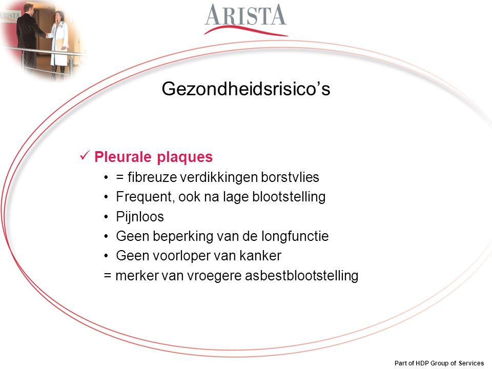 Part of HDP Group of Services Gezondheidsrisico's Pleurale plaques = fibreuze verdikkingen borstvlies Frequent, ook na lage blootstelling Pijnloos Gee