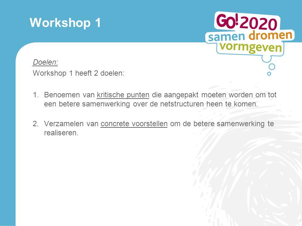 Workshop 1 Doelen: Workshop 1 heeft 2 doelen: 1.Benoemen van kritische punten die aangepakt moeten worden om tot een betere samenwerking over de netstructuren heen te komen.