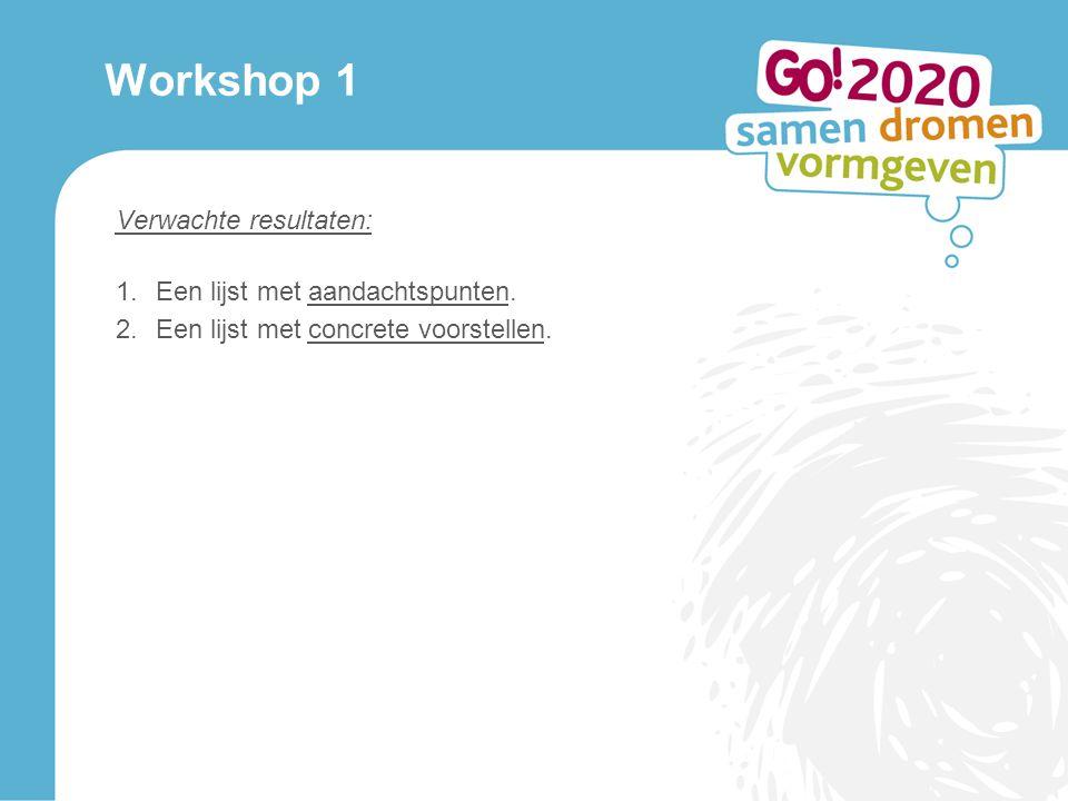 Workshop 1 Verwachte resultaten: 1.Een lijst met aandachtspunten.