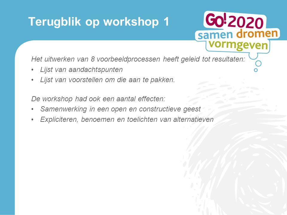 Terugblik op workshop 1 Het uitwerken van 8 voorbeeldprocessen heeft geleid tot resultaten: Lijst van aandachtspunten Lijst van voorstellen om die aan te pakken.