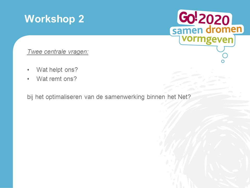 Workshop 2 Twee centrale vragen: Wat helpt ons. Wat remt ons.