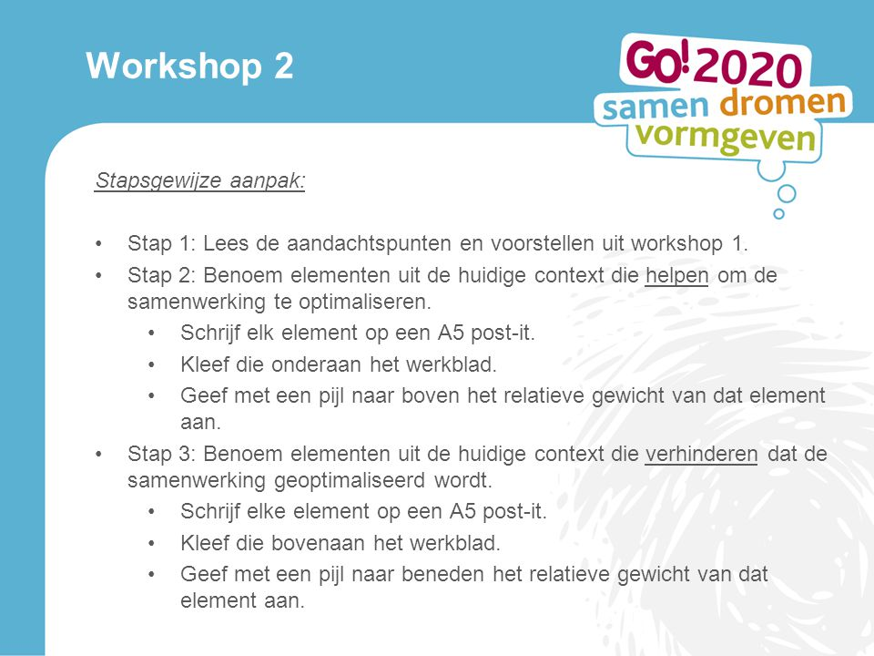 Workshop 2 Stapsgewijze aanpak: Stap 1: Lees de aandachtspunten en voorstellen uit workshop 1.