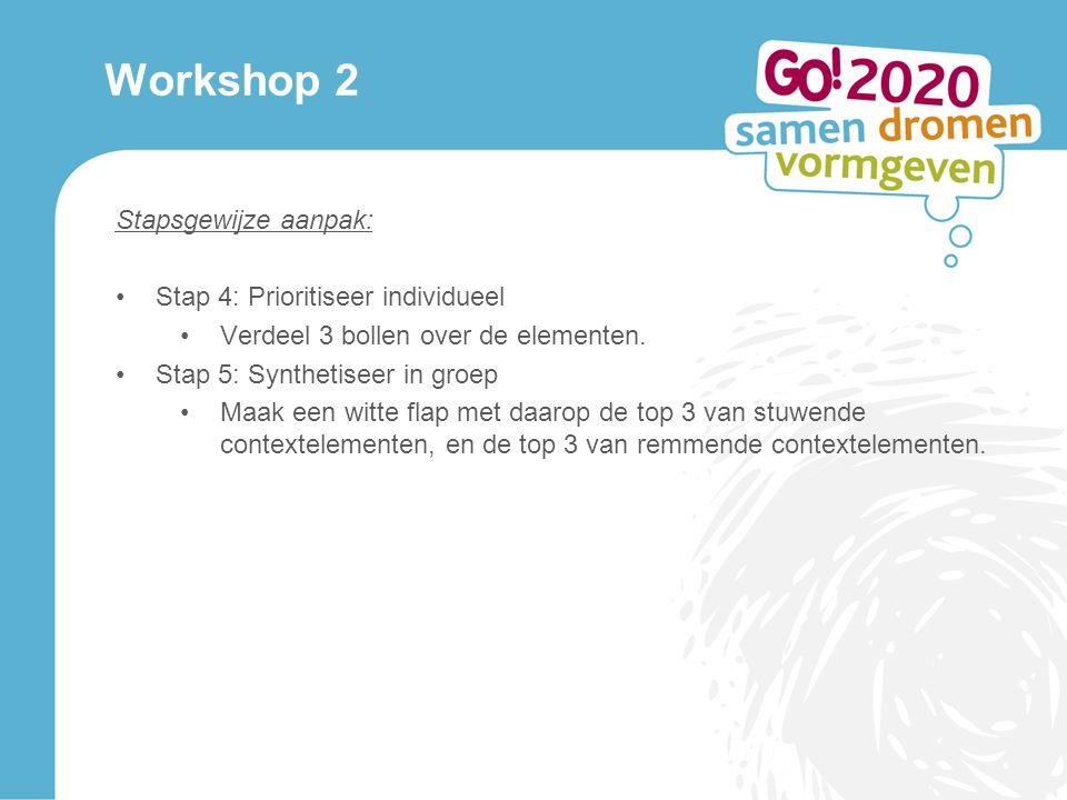 Workshop 2 Stapsgewijze aanpak: Stap 4: Prioritiseer individueel Verdeel 3 bollen over de elementen.
