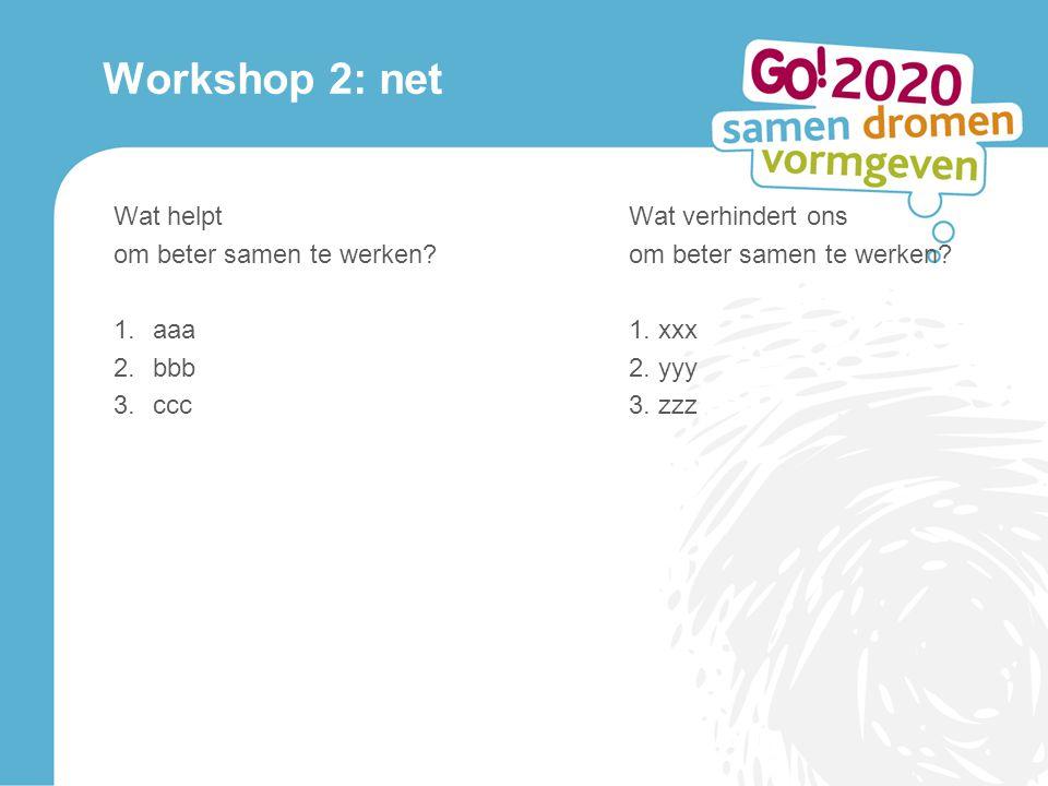 Workshop 2: net Wat helptWat verhindert onsom beter samen te werken.