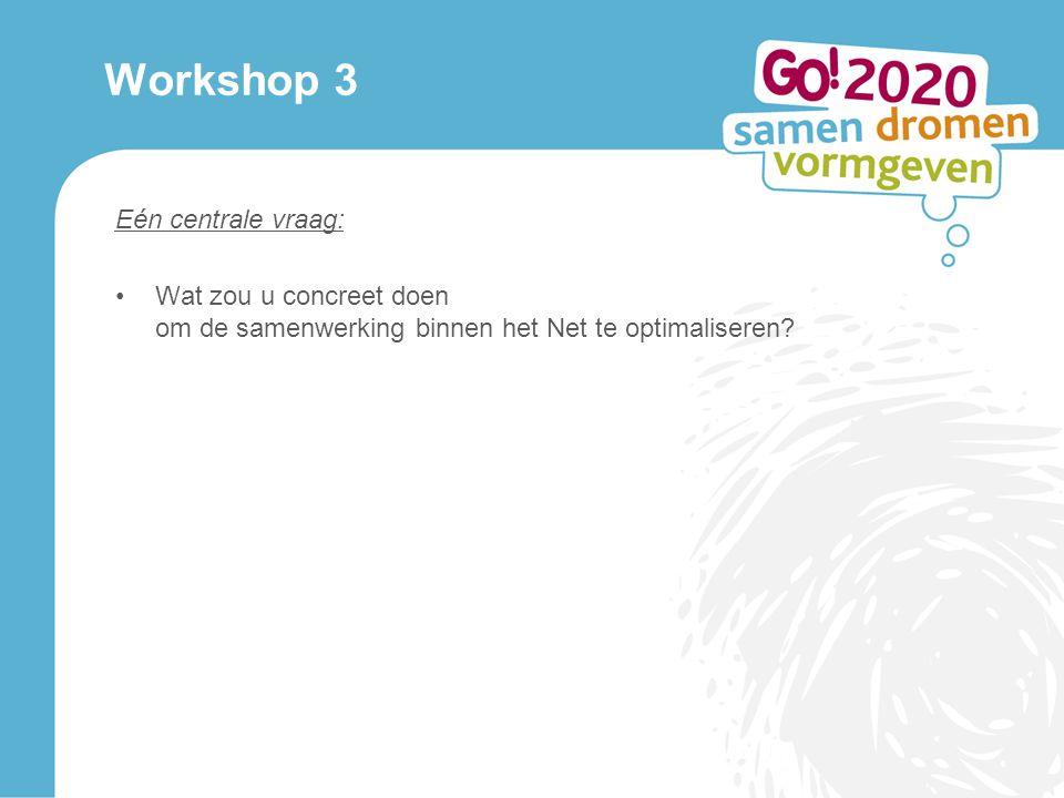Workshop 3 Eén centrale vraag: Wat zou u concreet doen om de samenwerking binnen het Net te optimaliseren