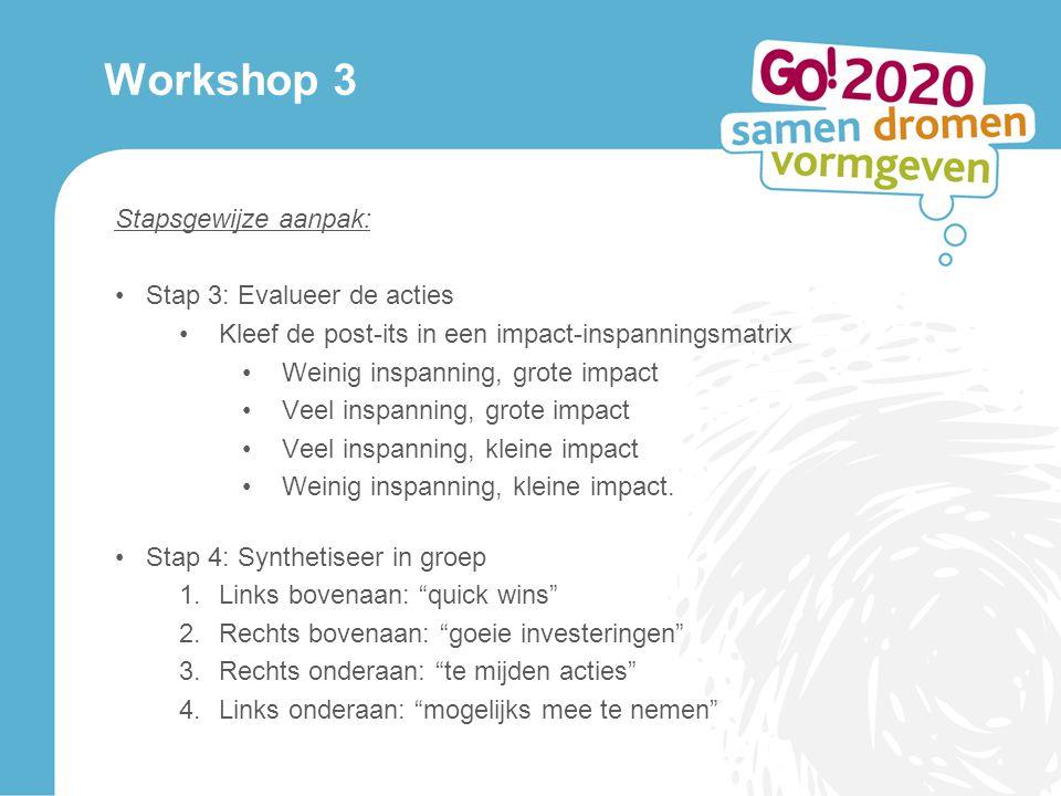 Workshop 3 Stapsgewijze aanpak: Stap 3: Evalueer de acties Kleef de post-its in een impact-inspanningsmatrix Weinig inspanning, grote impact Veel inspanning, grote impact Veel inspanning, kleine impact Weinig inspanning, kleine impact.