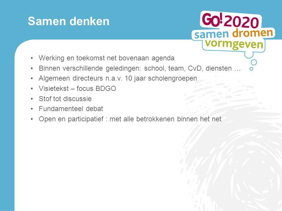 Samen denken Werking en toekomst net bovenaan agenda Binnen verschillende geledingen: school, team, CvD, diensten … Algemeen directeurs n.a.v.