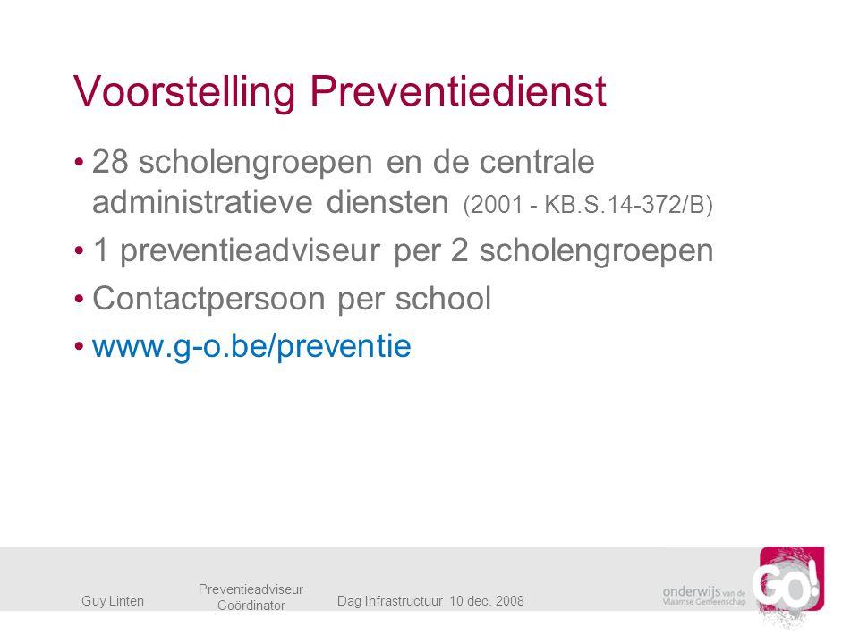 Voorstelling Preventiedienst 28 scholengroepen en de centrale administratieve diensten (2001 - KB.S.14-372/B) 1 preventieadviseur per 2 scholengroepen
