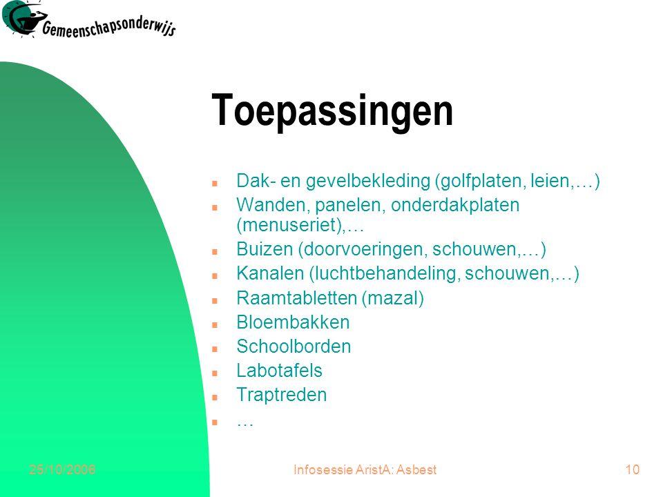 25/10/2006Infosessie AristA: Asbest10 Toepassingen n Dak- en gevelbekleding (golfplaten, leien,…) n Wanden, panelen, onderdakplaten (menuseriet),… n B