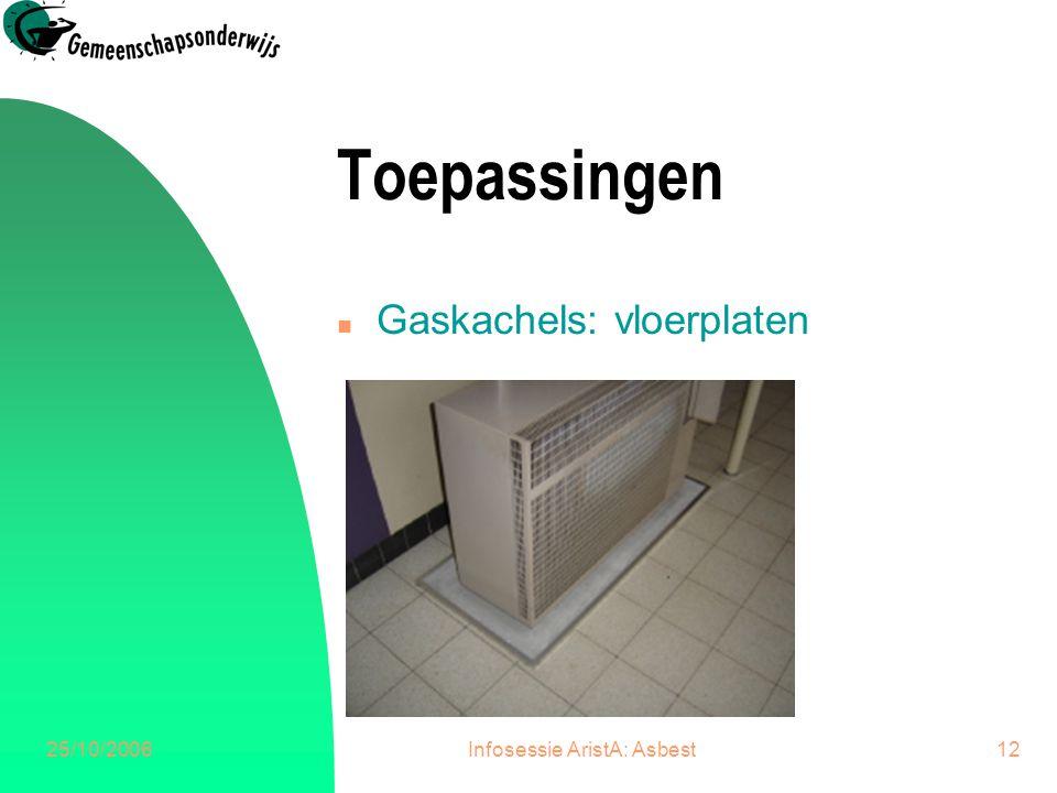 25/10/2006Infosessie AristA: Asbest12 Toepassingen n Gaskachels: vloerplaten