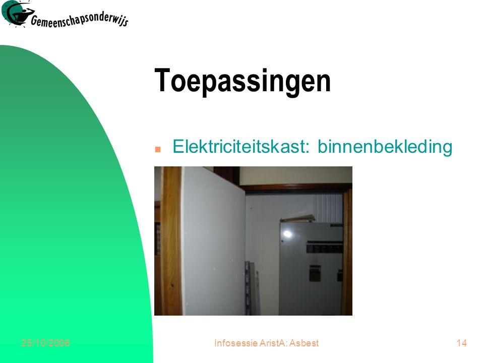 25/10/2006Infosessie AristA: Asbest14 Toepassingen n Elektriciteitskast: binnenbekleding