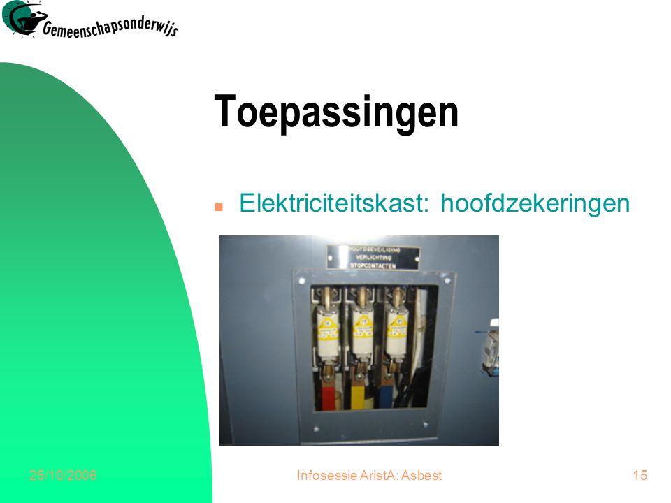 25/10/2006Infosessie AristA: Asbest15 Toepassingen n Elektriciteitskast: hoofdzekeringen