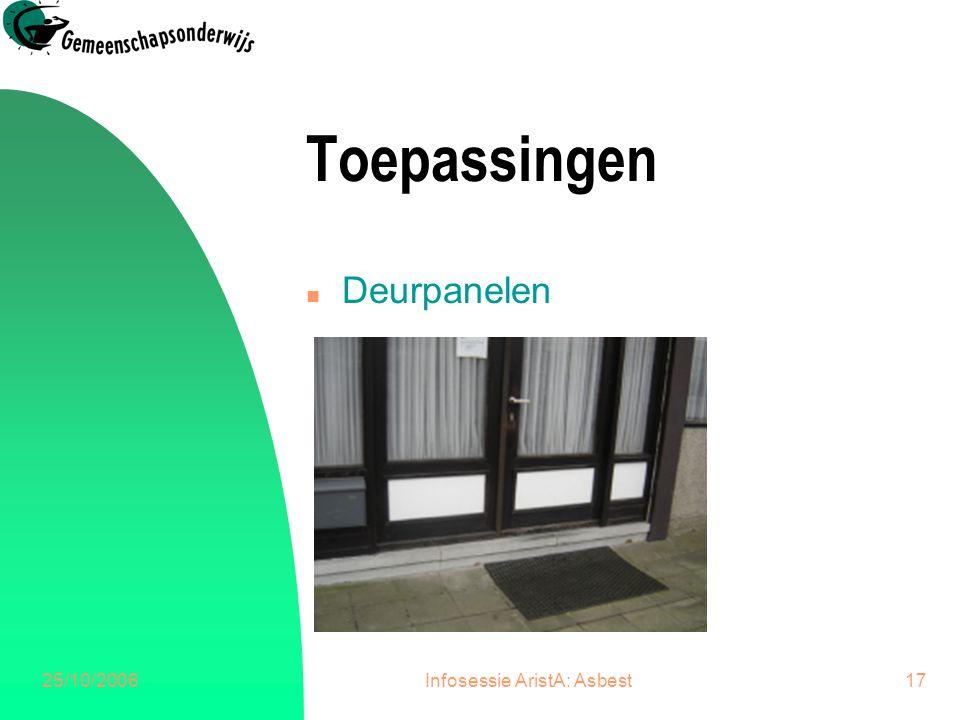 25/10/2006Infosessie AristA: Asbest17 Toepassingen n Deurpanelen