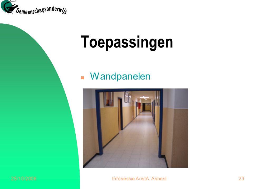 25/10/2006Infosessie AristA: Asbest23 Toepassingen n Wandpanelen