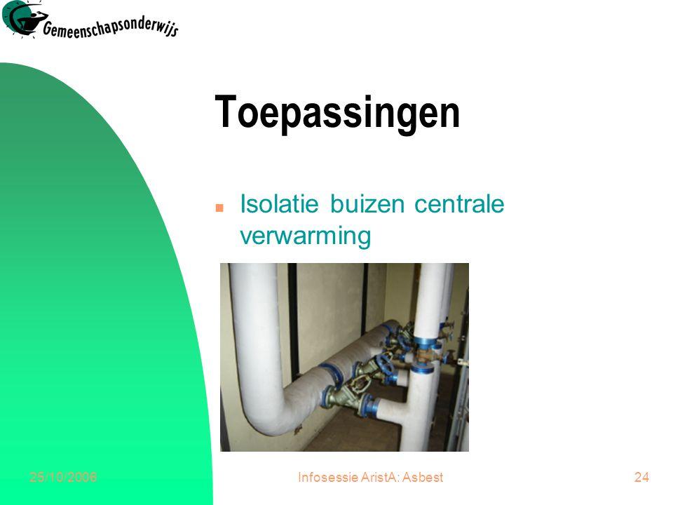 25/10/2006Infosessie AristA: Asbest24 Toepassingen n Isolatie buizen centrale verwarming