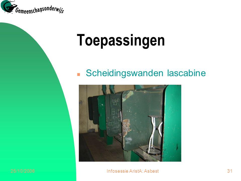 25/10/2006Infosessie AristA: Asbest31 Toepassingen n Scheidingswanden lascabine