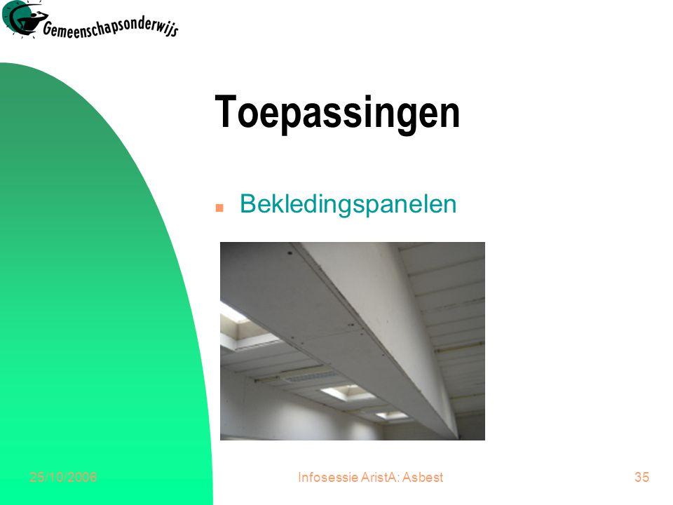25/10/2006Infosessie AristA: Asbest35 Toepassingen n Bekledingspanelen