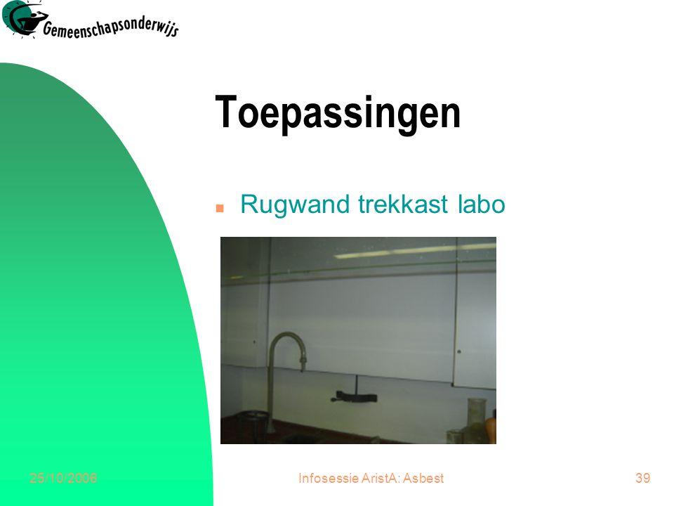25/10/2006Infosessie AristA: Asbest39 Toepassingen n Rugwand trekkast labo