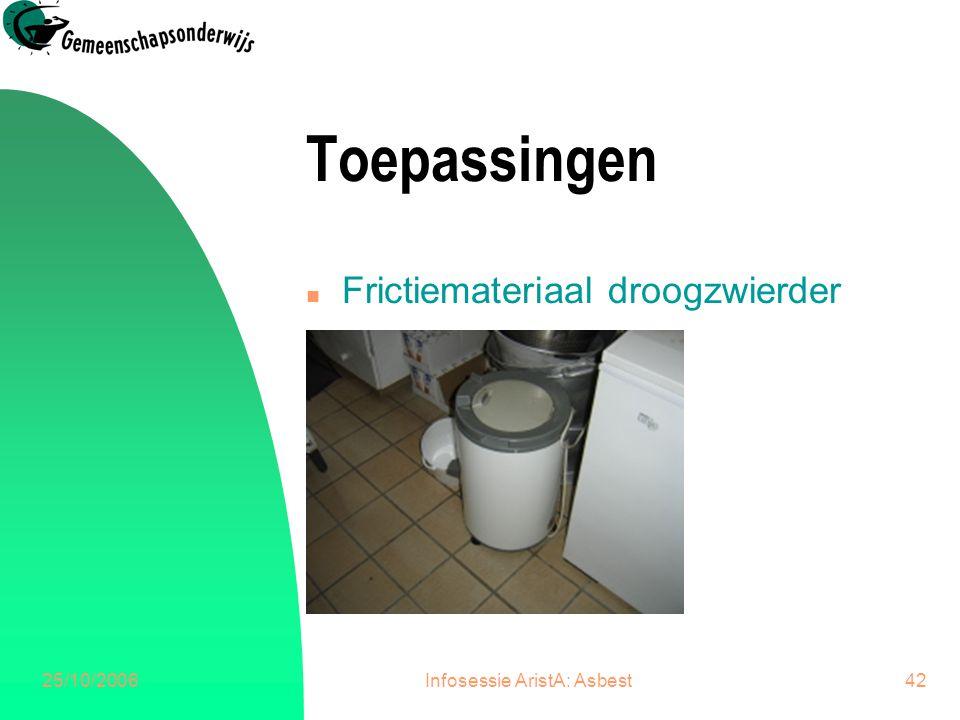 25/10/2006Infosessie AristA: Asbest42 Toepassingen n Frictiemateriaal droogzwierder