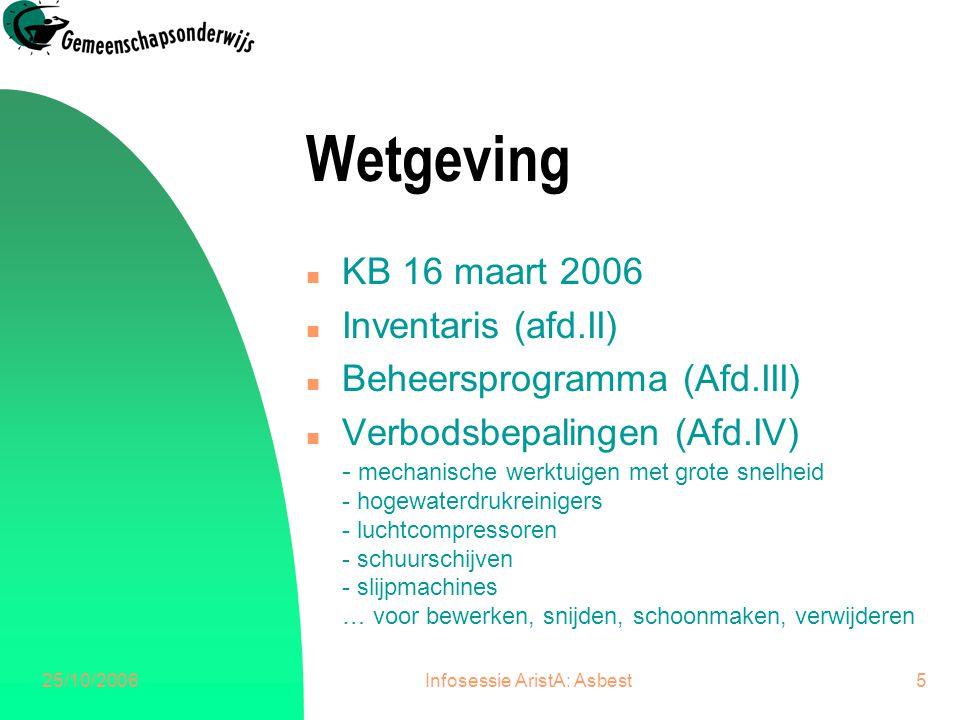 25/10/2006Infosessie AristA: Asbest5 Wetgeving n KB 16 maart 2006 n Inventaris (afd.II) n Beheersprogramma (Afd.III) n Verbodsbepalingen (Afd.IV) - me