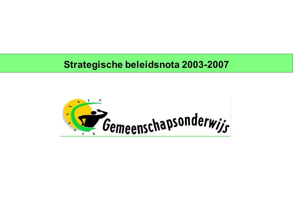 Page 22 Strategische doelstellingen 2003-2007 Beleidsdomein 2: marktaandeel Doelstelling  Vergroten van het marktaandeel van het Gemeenschapsonderwijs, gedifferentieerd naar alle niveaus en regio's en in functie van een voldoende spreiding van het studieaanbod met inachtname van de principes van het PPGO