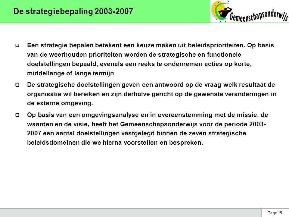 Page 15 De strategiebepaling 2003-2007  Een strategie bepalen betekent een keuze maken uit beleidsprioriteiten. Op basis van de weerhouden prioriteit