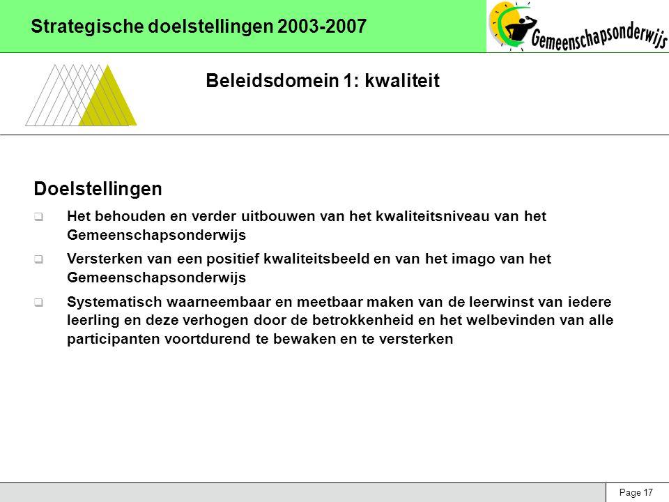 Page 17 Strategische doelstellingen 2003-2007 Beleidsdomein 1: kwaliteit Doelstellingen  Het behouden en verder uitbouwen van het kwaliteitsniveau van het Gemeenschapsonderwijs  Versterken van een positief kwaliteitsbeeld en van het imago van het Gemeenschapsonderwijs  Systematisch waarneembaar en meetbaar maken van de leerwinst van iedere leerling en deze verhogen door de betrokkenheid en het welbevinden van alle participanten voortdurend te bewaken en te versterken