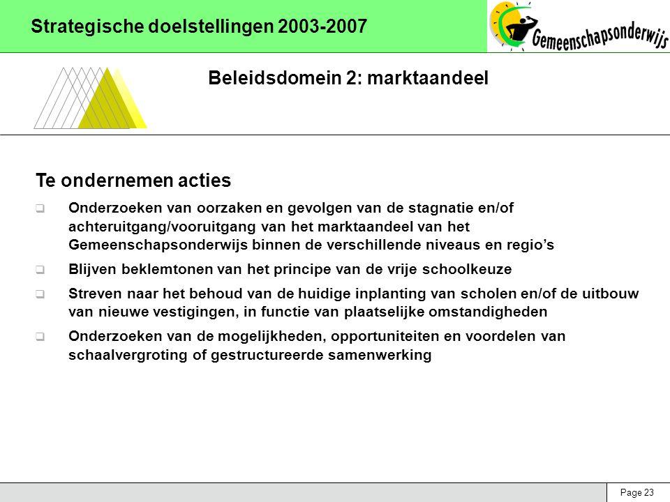 Page 23 Strategische doelstellingen 2003-2007 Beleidsdomein 2: marktaandeel Te ondernemen acties  Onderzoeken van oorzaken en gevolgen van de stagnat