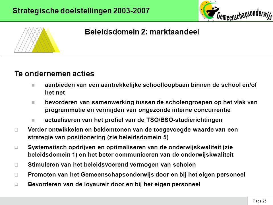 Page 25 Strategische doelstellingen 2003-2007 Beleidsdomein 2: marktaandeel Te ondernemen acties aanbieden van een aantrekkelijke schoolloopbaan binnen de school en/of het net bevorderen van samenwerking tussen de scholengroepen op het vlak van programmatie en vermijden van ongezonde interne concurrentie actualiseren van het profiel van de TSO/BSO-studierichtingen  Verder ontwikkelen en beklemtonen van de toegevoegde waarde van een strategie van positionering (zie beleidsdomein 5)  Systematisch opdrijven en optimaliseren van de onderwijskwaliteit (zie beleidsdomein 1) en het beter communiceren van de onderwijskwaliteit  Stimuleren van het beleidsvoerend vermogen van scholen  Promoten van het Gemeenschapsonderwijs door en bij het eigen personeel  Bevorderen van de loyauteit door en bij het eigen personeel
