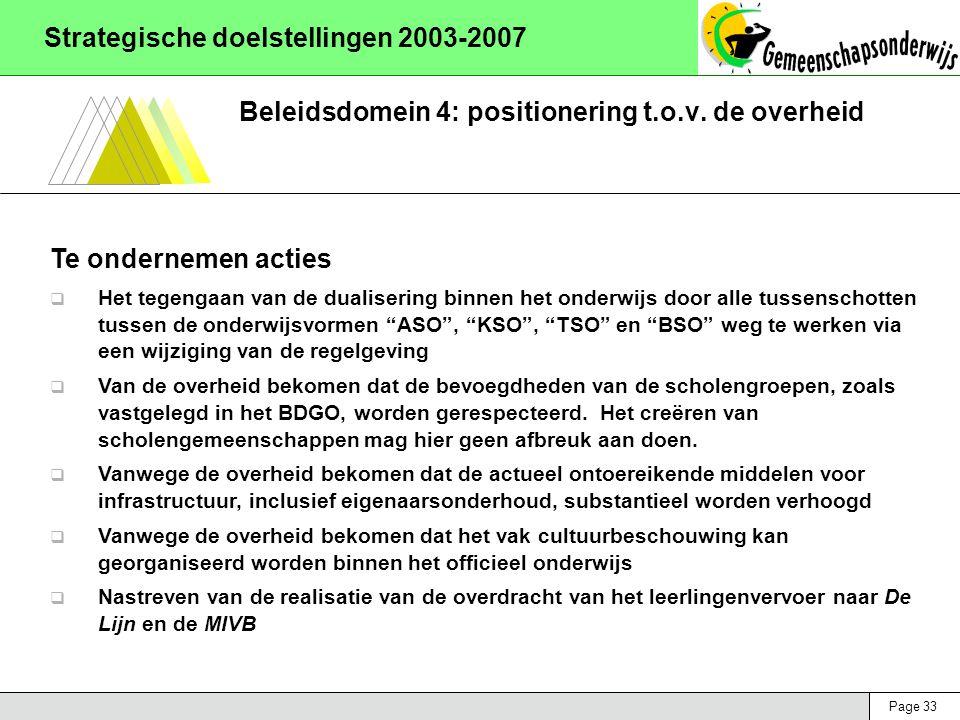 Page 33 Strategische doelstellingen 2003-2007 Beleidsdomein 4: positionering t.o.v. de overheid Te ondernemen acties  Het tegengaan van de dualiserin