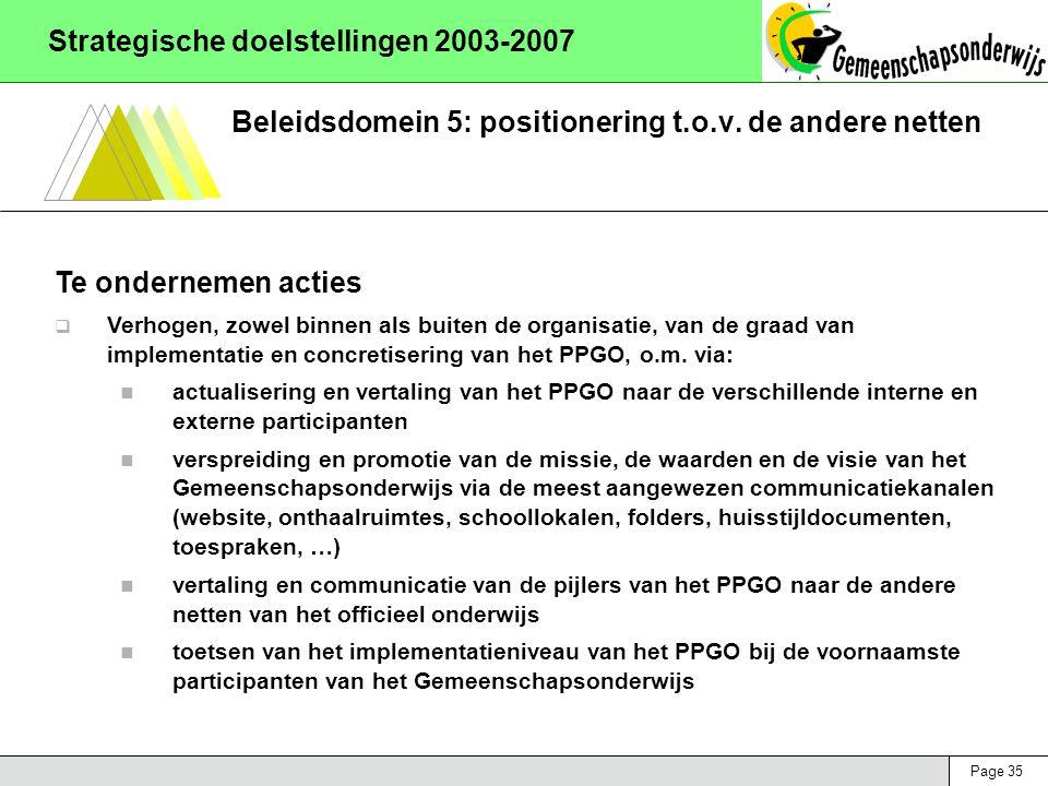 Page 35 Strategische doelstellingen 2003-2007 Beleidsdomein 5: positionering t.o.v. de andere netten Te ondernemen acties  Verhogen, zowel binnen als