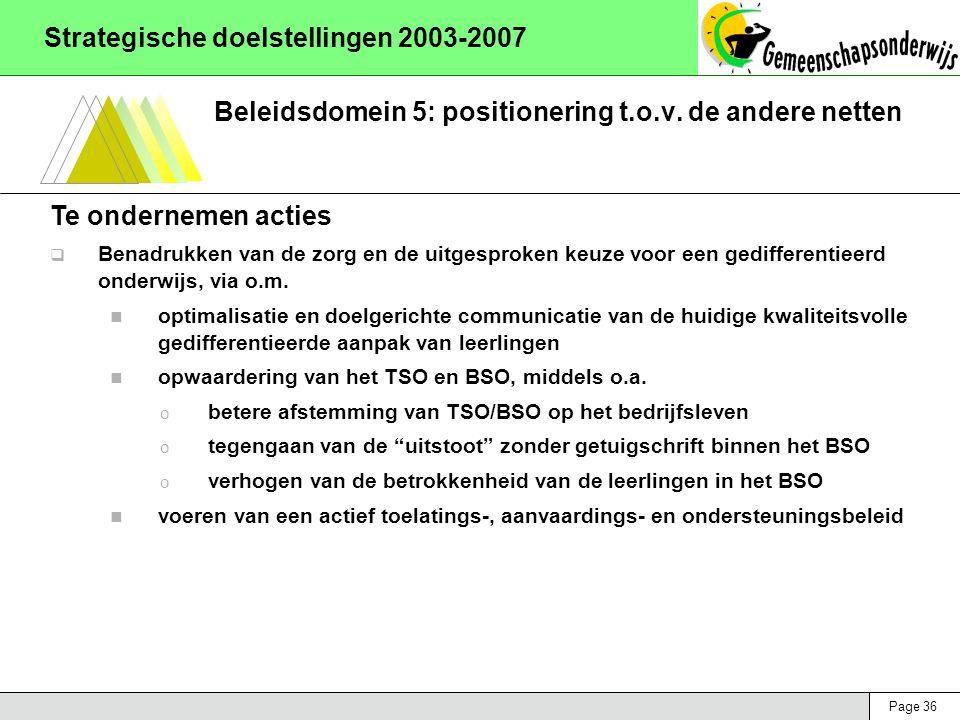 Page 36 Strategische doelstellingen 2003-2007 Beleidsdomein 5: positionering t.o.v. de andere netten Te ondernemen acties  Benadrukken van de zorg en