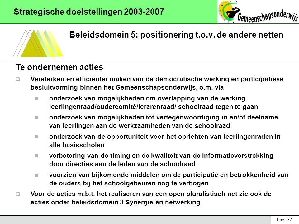 Page 37 Strategische doelstellingen 2003-2007 Beleidsdomein 5: positionering t.o.v. de andere netten Te ondernemen acties  Versterken en efficiënter