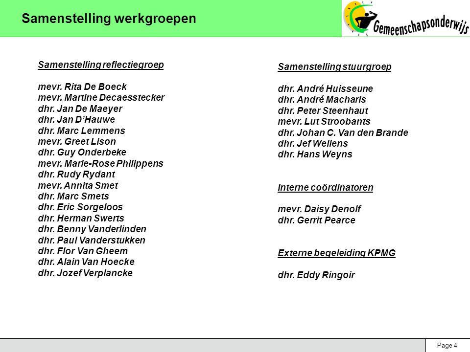 Page 4 Samenstelling werkgroepen Samenstelling reflectiegroep mevr. Rita De Boeck mevr. Martine Decaesstecker dhr. Jan De Maeyer dhr. Jan D'Hauwe dhr.