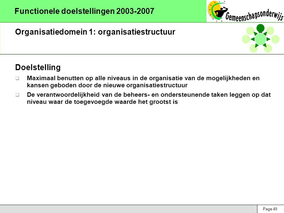 Page 49 Functionele doelstellingen 2003-2007 Organisatiedomein 1: organisatiestructuur Doelstelling  Maximaal benutten op alle niveaus in de organisa