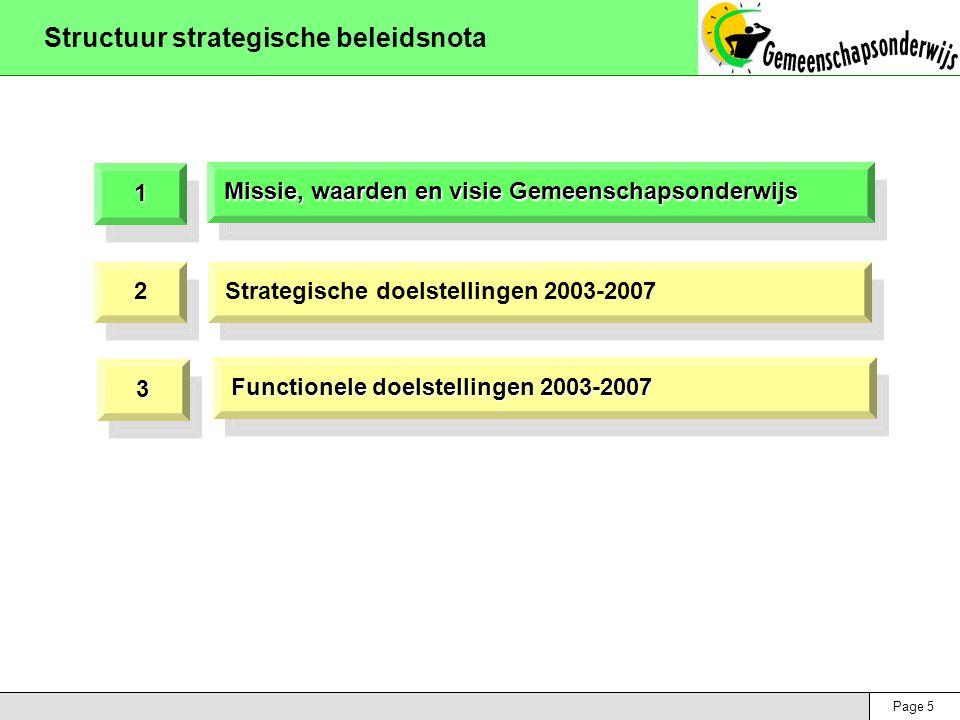 Page 26 Strategische doelstellingen 2003-2007 Beleidsdomein 3: synergie en netwerking Doelstellingen  Verhogen en verbeteren van de samenwerking tussen en binnen alle geledingen van het Gemeenschapsonderwijs  Actief participeren aan een open pluralistisch netwerk, door samenwerking met, en indien mogelijk, integratie van de officiële scholen en eventueel privaatrechtelijke scholen  Aantoonbaar verhogen en verbeteren van de synergie en van diverse samenwerkingsvormen met brede lagen van het maatschappelijk en socio- culturele-economisch veld