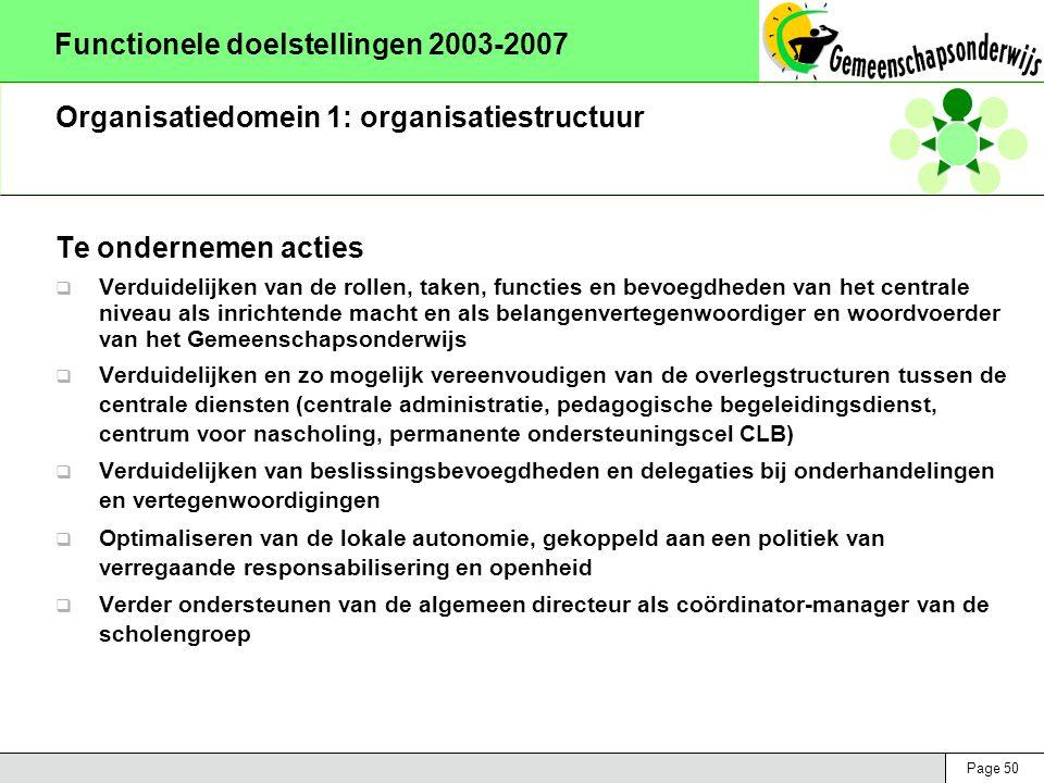 Page 50 Functionele doelstellingen 2003-2007 Organisatiedomein 1: organisatiestructuur Te ondernemen acties  Verduidelijken van de rollen, taken, functies en bevoegdheden van het centrale niveau als inrichtende macht en als belangenvertegenwoordiger en woordvoerder van het Gemeenschapsonderwijs  Verduidelijken en zo mogelijk vereenvoudigen van de overlegstructuren tussen de centrale diensten (centrale administratie, pedagogische begeleidingsdienst, centrum voor nascholing, permanente ondersteuningscel CLB)  Verduidelijken van beslissingsbevoegdheden en delegaties bij onderhandelingen en vertegenwoordigingen  Optimaliseren van de lokale autonomie, gekoppeld aan een politiek van verregaande responsabilisering en openheid  Verder ondersteunen van de algemeen directeur als coördinator-manager van de scholengroep