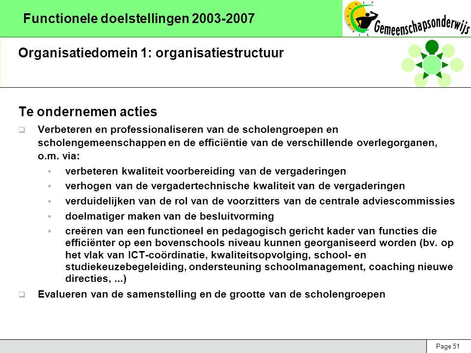 Page 51 Functionele doelstellingen 2003-2007 Organisatiedomein 1: organisatiestructuur Te ondernemen acties  Verbeteren en professionaliseren van de scholengroepen en scholengemeenschappen en de efficiëntie van de verschillende overlegorganen, o.m.