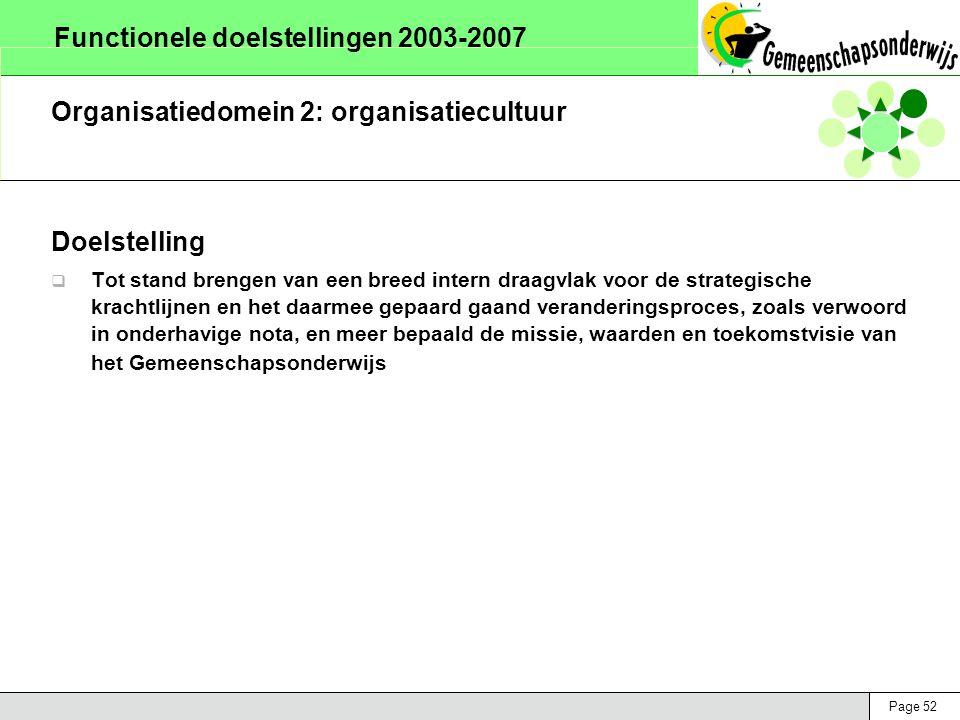 Page 52 Functionele doelstellingen 2003-2007 Organisatiedomein 2: organisatiecultuur Doelstelling  Tot stand brengen van een breed intern draagvlak voor de strategische krachtlijnen en het daarmee gepaard gaand veranderingsproces, zoals verwoord in onderhavige nota, en meer bepaald de missie, waarden en toekomstvisie van het Gemeenschapsonderwijs