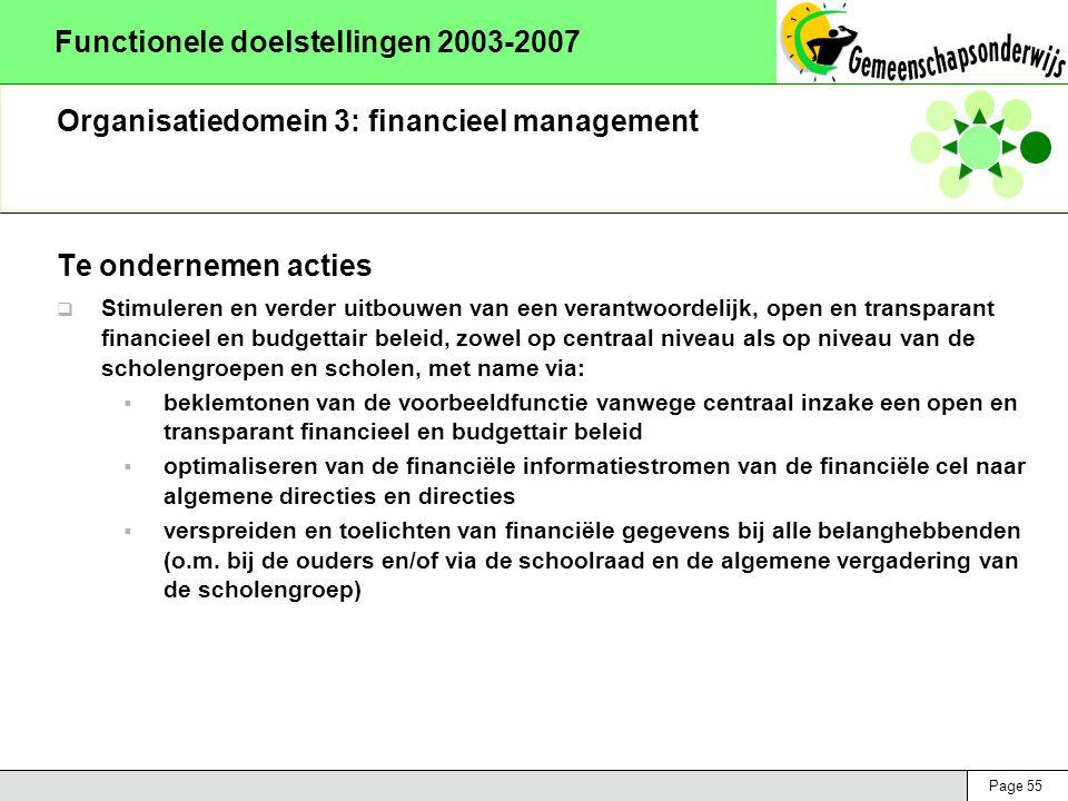 Page 55 Functionele doelstellingen 2003-2007 Organisatiedomein 3: financieel management Te ondernemen acties  Stimuleren en verder uitbouwen van een verantwoordelijk, open en transparant financieel en budgettair beleid, zowel op centraal niveau als op niveau van de scholengroepen en scholen, met name via:  beklemtonen van de voorbeeldfunctie vanwege centraal inzake een open en transparant financieel en budgettair beleid  optimaliseren van de financiële informatiestromen van de financiële cel naar algemene directies en directies  verspreiden en toelichten van financiële gegevens bij alle belanghebbenden (o.m.