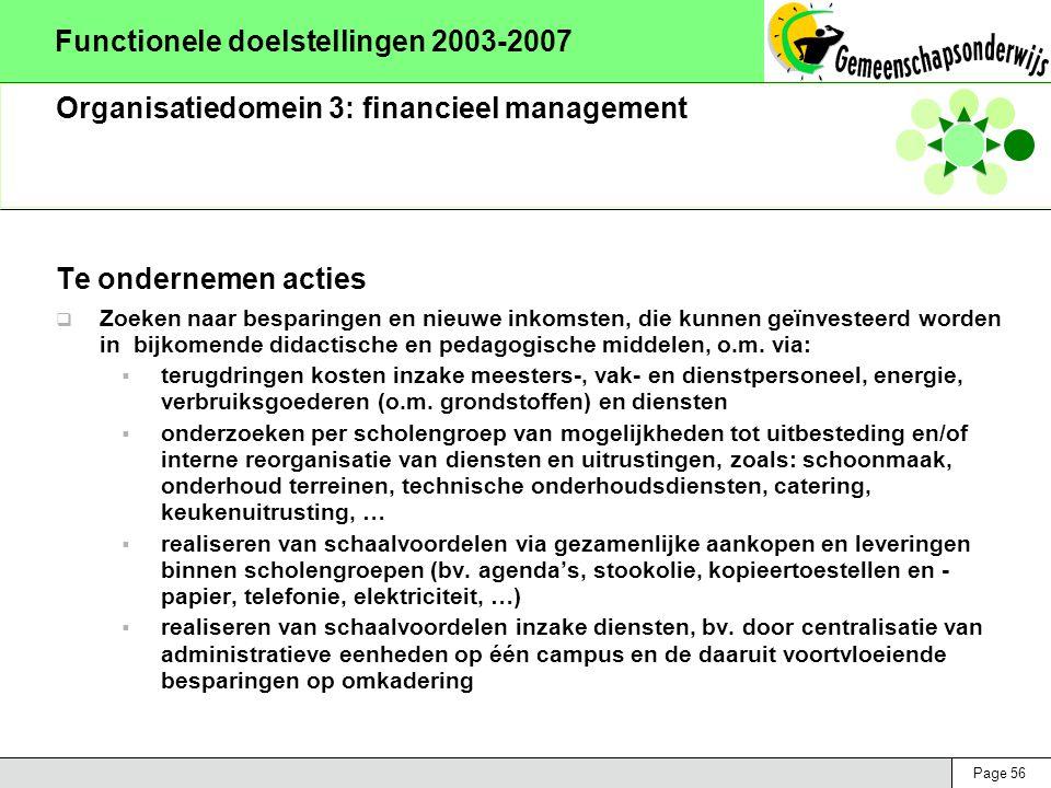 Page 56 Functionele doelstellingen 2003-2007 Organisatiedomein 3: financieel management Te ondernemen acties  Zoeken naar besparingen en nieuwe inkomsten, die kunnen geïnvesteerd worden in bijkomende didactische en pedagogische middelen, o.m.