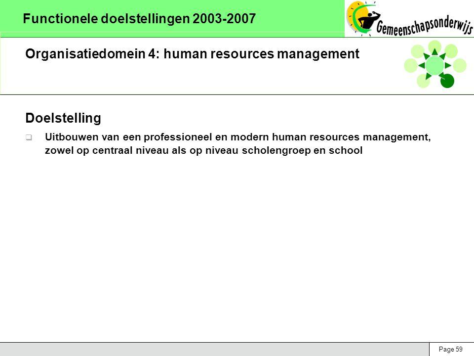 Page 59 Functionele doelstellingen 2003-2007 Organisatiedomein 4: human resources management Doelstelling  Uitbouwen van een professioneel en modern