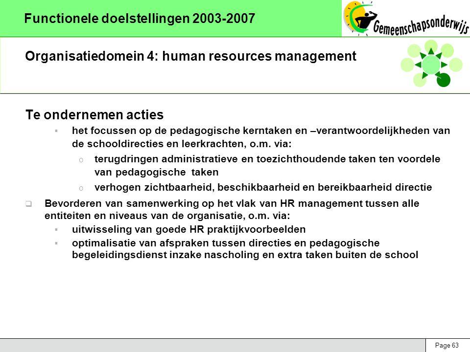 Page 63 Functionele doelstellingen 2003-2007 Organisatiedomein 4: human resources management Te ondernemen acties  het focussen op de pedagogische ke